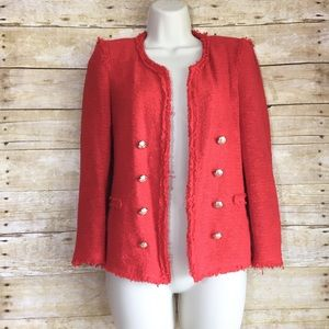 Zara woman red tweed blazer jacket